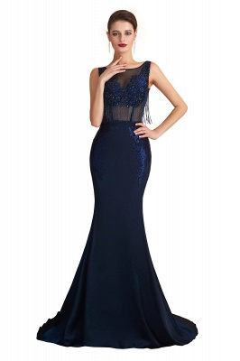 Luxury Dark Navy Applique Beaded Floor Length Mermaid Prom Dresses |Fitted Cheap Evening Dresses_1