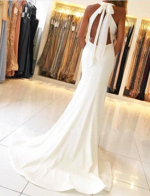 Simple Halter Mermaid Evening Dresses Open Back Side Slit Prom Dresses Sleeveless qq0381_3