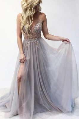 Sexy Spaghetti Straps Sheer A-line Tulle Prom Dresses with Side Slit_5