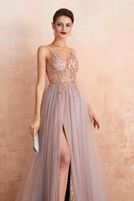 Sexy Spaghetti Straps Sheer A-line Tulle Prom Dresses with Side Slit_14
