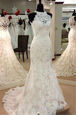 Elegant Mermaid Wedding Dresses | High Neck Lace Sleeveless Bridal Dresses_2