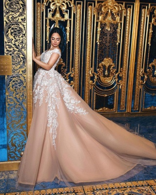 Gorgeous Champagne Off-the-shoulder Ball Gown Wedding Dresses_3