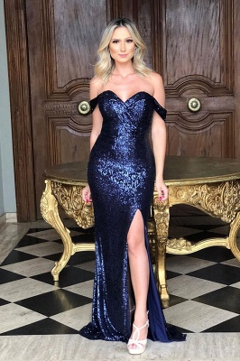 Classic Off Shoulder High Slit Gold Sequined Prom Dresses_3