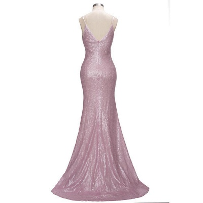 Stunning Sequins Mermaid Prom Dresses | Shiny Spaghettis Straps Evening Gowns_5