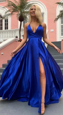 Sexy Spaghetti Straps V-neck Silky Prom Dresses with High Slit in Royal Blue_4