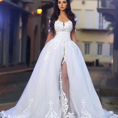 Long Sleeves A-Line Appliques White Elegant Wedding Dresses with Overskirt_4