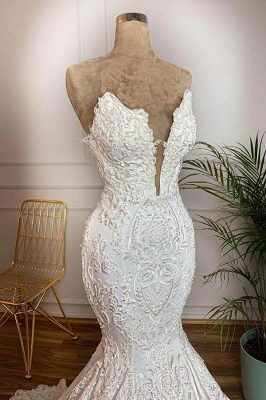 Attractive Deep V Neck Lace Floor Legnth Wedding Dress | Backless Mermaid Bridal Gown_3