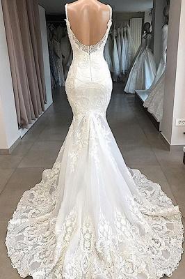 Spaghetti Straps Lace Appliques Sexy Mermaid Wedding Dresses_3