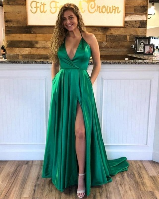 Sexy Spaghetti Straps V-neck Silky Prom Dresses with High Slit in Royal Blue_3