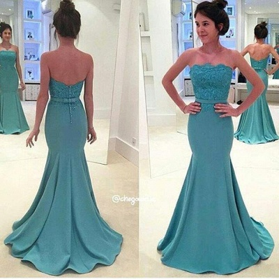 Green Lace Strapless Long Prom Dress Mermaid Evening Gowns with Sash_2