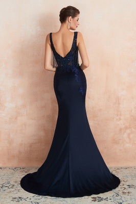 Luxury Dark Navy Applique Beaded Floor Length Mermaid Prom Dresses |Fitted Cheap Evening Dresses_4