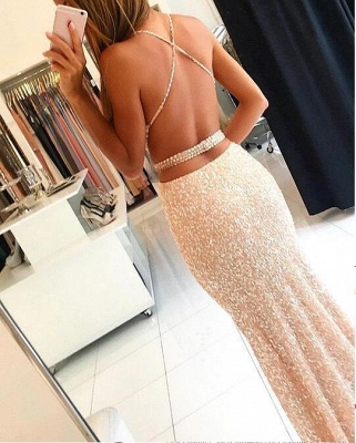 Long Sleeveless Sequined Prom Dress Spaghetti-Strap Bodycon Evening Gowns_3