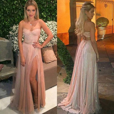 Sexy Lace Tulle Spaghetti Prom Dresses 2018 Side-Split Backless Party Dress BA5058_2
