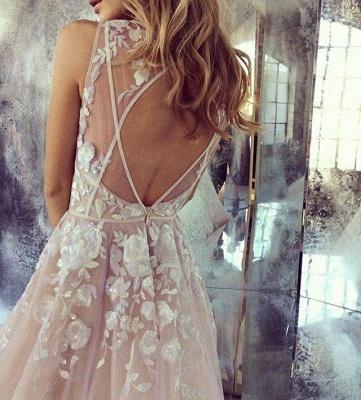 Pink Tulle A-Line Wedding Dresses Deep V-Neck Applique Chapel Train Long Bridal Dresses_3