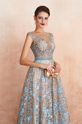 Elegant Jewel Sleeveless Appliques A-line Prom Dresses_7