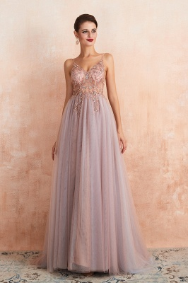 Sexy Spaghetti Straps Sheer A-line Tulle Prom Dresses with Side Slit_13