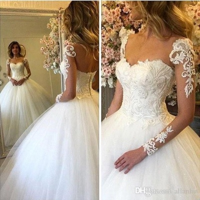 Long-Sleeves Lace-up Luxury Ball-Gown Lace Wedding Dresses_2