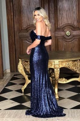 Classic Off Shoulder High Slit Gold Sequined Prom Dresses_4