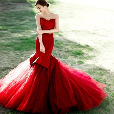 Alluring Red Mermaid Sweetheart Prom Dress Lace-Up Evening Dress_3