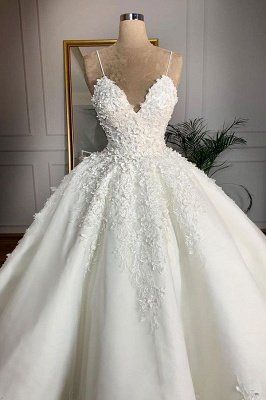 Sexy Spaghetti Strap V Neck Applique Ball Gown Wedding Dress | Puffy Lace Bridal Gown_3