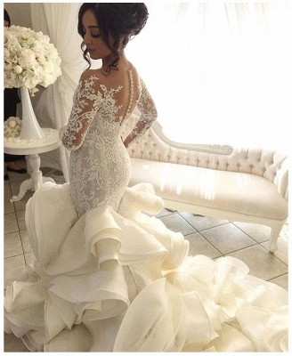 Elegant Organza Mermaid V-Neck Lace Applique Ruffles Wedding Dresses with Long Sleeves_4