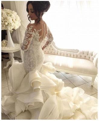 Elegant Organza Mermaid V-Neck Lace Applique Ruffles Wedding Dresses with Long Sleeves_4