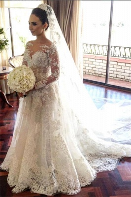 Royal Tulle Glamorous Sleeve Beadings Long Lace Wedding Dresses_2