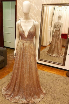 Deep V-neck Spaghetti Straps A-line Sparkly Gold Sequin Prom Dresses_1