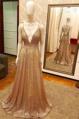Deep V-neck Spaghetti Straps A-line Sparkly Gold Sequin Prom Dresses_1