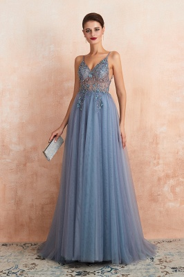 Sexy Spaghetti Straps Sheer A-line Tulle Prom Dresses with Side Slit_25
