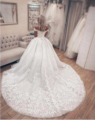 Princess Off The Shoulder Sweetheart  Applique Puffy Ball Gown Wedding Dresses_2