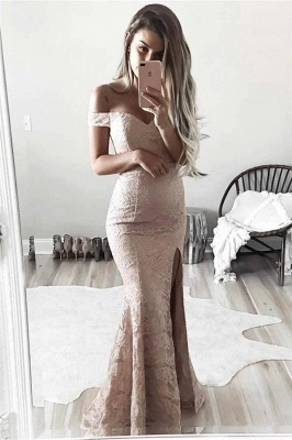 Gorgeous Mermaid Lace Prom Dresses | Off-the-Shoulder Split Evening Gowns_3