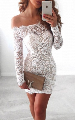 Long-Sleeve Short Simple Cocktail White Mermaid Party Dresses_2