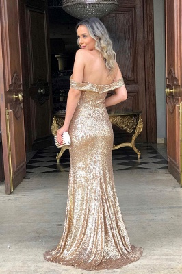 Classic Off Shoulder High Slit Gold Sequined Prom Dresses_2