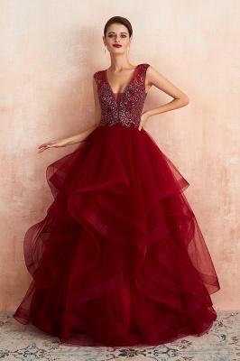 Modern Straps V-neck Ruffled Beaded Puffy Prom Dresses_1