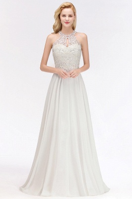 Jewel Sleeveless Lace Chiffon Cheap Long Party Dresses