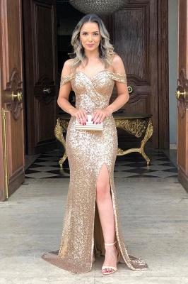 Classic Off Shoulder High Slit Gold Sequined Prom Dresses_1