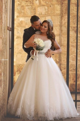Amazing sheer Neck Bridal Ball Gown Wedding Dresses with Beaded Belt_2