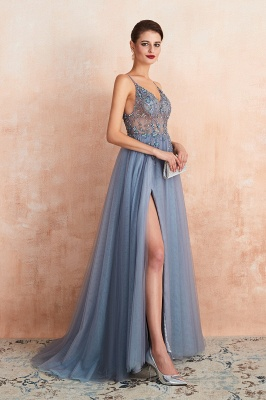 Sexy Spaghetti Straps Sheer A-line Tulle Prom Dresses with Side Slit_18
