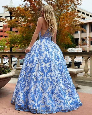 Sleeveless Floor Length Printed Blue Prom Dresses | Gorgeous Ball Gown Party Dresses_2