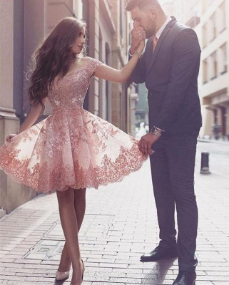 Glamorous Mini Appliques Tulle A-line Short-Sleeves Homecoming Dress_2