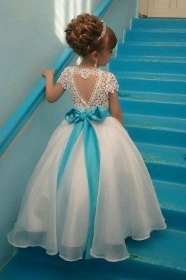 Puffy Crystals Short-Sleeves Lace with Blue Sash Flower Girl's Dresses