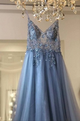 Sexy Spaghetti Straps Sheer A-line Tulle Prom Dresses with Side Slit_4