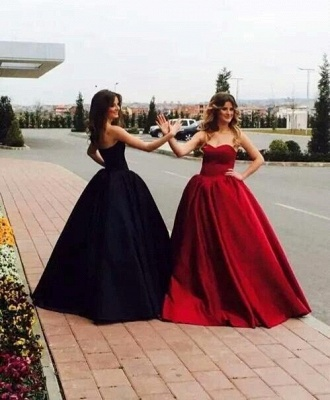 Ball-Gown Simple Sleeveless Sweetheart Glamorous Prom Dresses_5