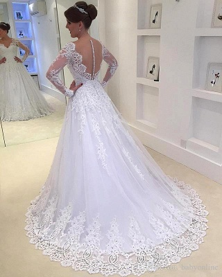 Elegant A-Line Appliques Long-Sleeves Tulle V-Neck Wedding Dresses with Beadings_3