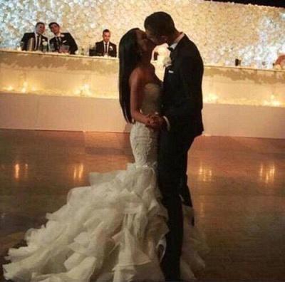 Elegant Crystal Ruffles Mermaid Sweetheart Wedding Dresses_3