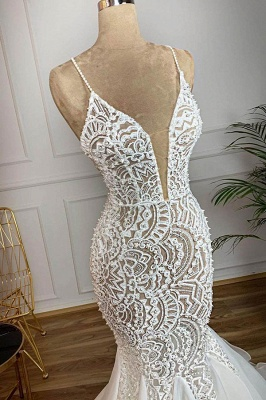 Charming Spaghetti Strap V Neck Lace Fitted Mermaid Wedding Dress_3