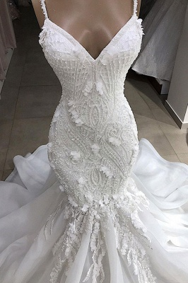 Amazing Spaghetti Strap Sweetheart Applique Lace Fit And Flare Mermaid Wedding Dress_4
