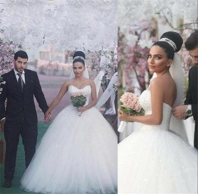 Sleeveless Sweetheart Ball-Gown Beading Glamorous Wedding Dress_3