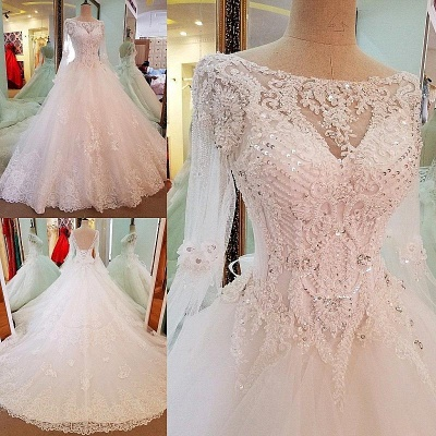 A-line Sequins Sweep Train Long-Sleeves Lace Wedding Dresses_2